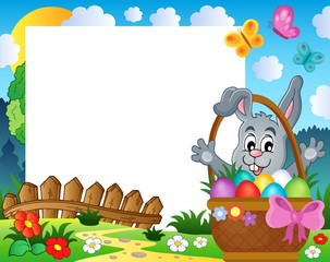Frame with Easter rabbit theme 3