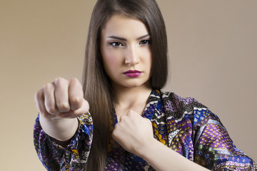 Asian woman fighting