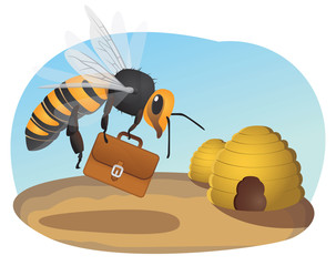 Bee with briefcase flies to beehive office