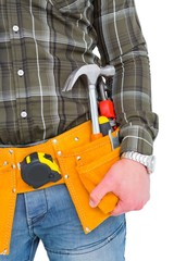 Handyman wearing tool belt