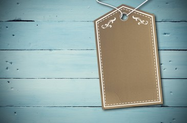Composite image of elegant brown tag