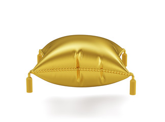 Golden pillow isolated