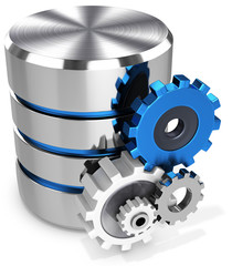 3d storage database symbol and gears