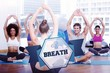 The word breath and people with trainer doing stretching exercis