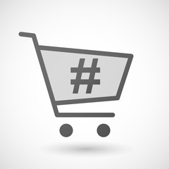 Shopping cart icon with a hash tag