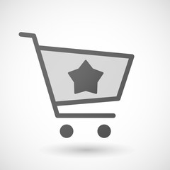 Shopping cart icon with a star