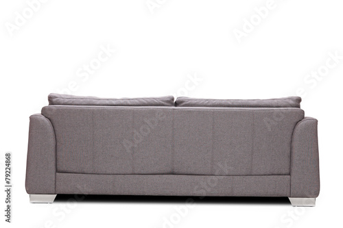 Rear view studio shot of a modern gray sofa - 79224868