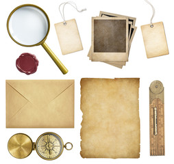 Old mail, paper, price tags, polaroid frames, wax seal, compass