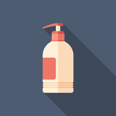 Liquid soap flat square icon with long shadows.