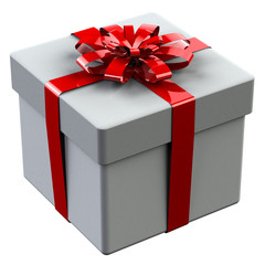 White gift box tied red ribbon with a bow