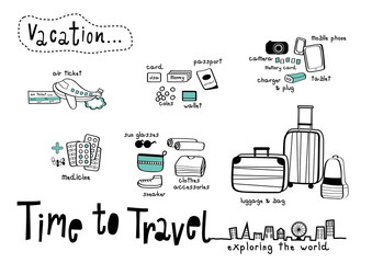 Time to Travel Doodle White background