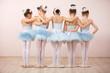 Leinwanddruck Bild - Group of five little ballerinas