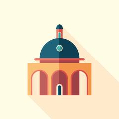 Planetarium flat square icon with long shadows.