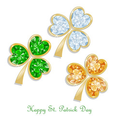 Three colored clover diamond for St. Patrick's day