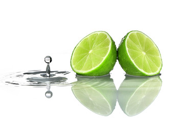 Lime with water drop