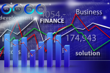 Business, money, world blue graph