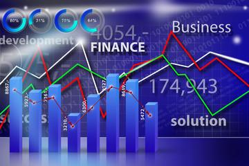 Business, money, world blue graph