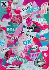 Mood board made of magazines in pink and blue green