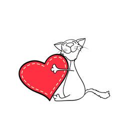 happy kitten hugging a heart