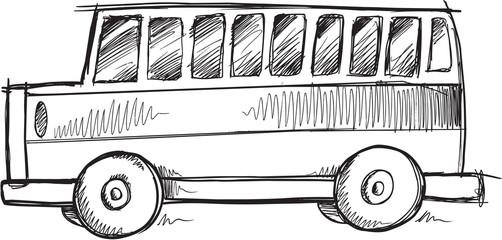 Doodle Sketch School Bus Vector Illustration Art