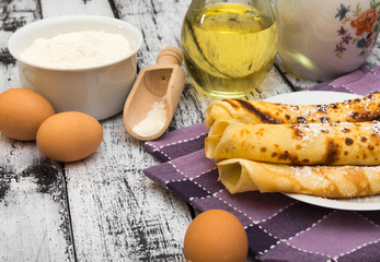 pancakes and ingredients