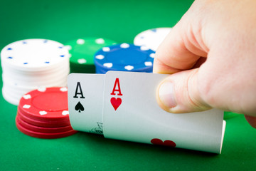 Poker - Two Aces and chips