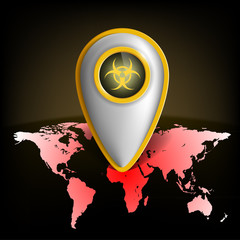pointer with the biohazard symbol on a map of the earth