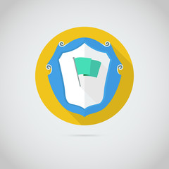 Flat  icon with flag