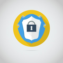 Flat  icon with lock
