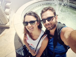 Young couple while taking a Selfie