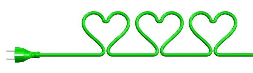 drei Herzen im Stromkabel - Ökoenergie