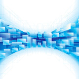 Fototapety Abstract blue perspective structure background.