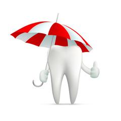 human tooth holding an umbrella