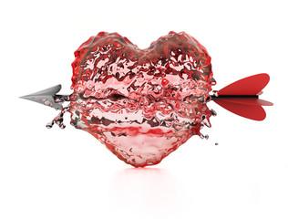 Liquid heart pierced by arrow