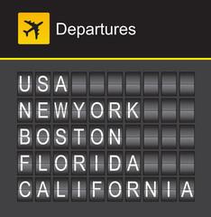 USA flip alphabet airport departures, USA, New York