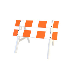Image of metal road barrier on a white background. Render. 3D il