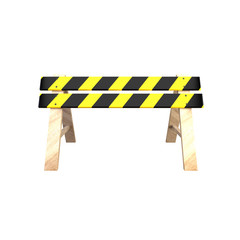 Road barrier with a wooden stand. 3D illustration