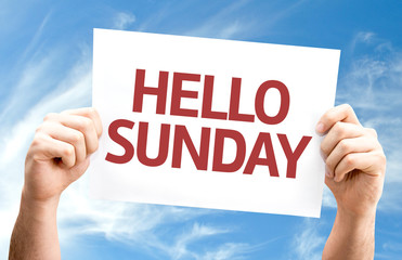 Hello Sunday card with sky background