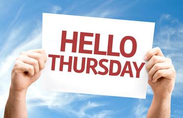Hello Thursday card with sky background