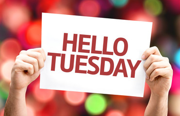 Hello Tuesday card with colorful background
