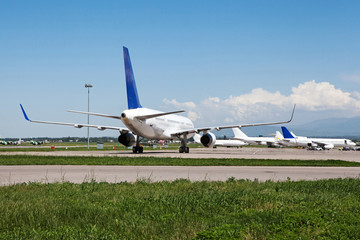 Passengers airplane on the airport.