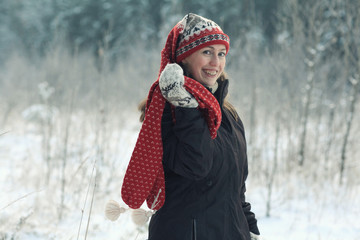 winter fun girl holiday portrait nature