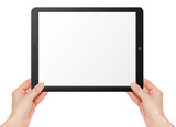 Modern computer tablet with hands