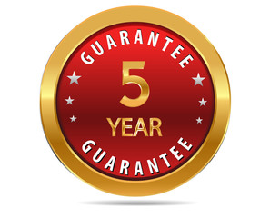 5 year guarantee golden red button, badge,sign