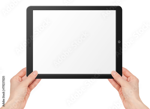 Modern computer tablet with hands - 79237820
