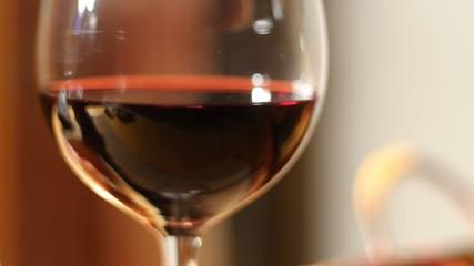 Wine glass on table - camera slide