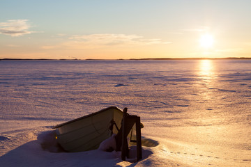 Winter landscape with boat