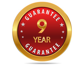 9 year guarantee golden red button, badge,sign