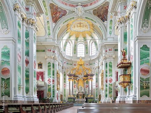 Leinwanddruck Bild Interior of Mannheim Jesuit Church, Germany