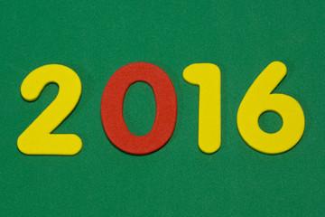 Zahl 2016, Jahreszahl, grüner Hintergrund